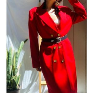 ♥Stunning Vintage Long Red Coat